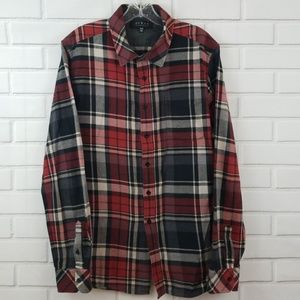 21Men Fitted Soft Flannel Plaid Button Down Shirt